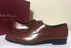 Salvatore Ferragamo Remigio Oxford Porto Brown Leather Lace Up Men's Dressy 7 M #SalvatoreFerragamo #OxfordsLaceUp
