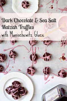Dark Chocolate and Sea Salt Matzah Truffles with Manischewitz Glaze- a great Passover dessert!