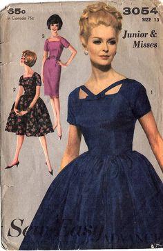 Advance 3054 Vintage 1960s Dress Slim or Full Skirt Sewing Pattern by DRCRosePatterns on Etsy