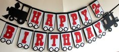 Train Birthday Party Banner - Choo Choo - Thomas the Train - Train Party Decoration