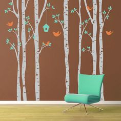 Vinyl Wall Decal  - Birch Trees and Birds - Extra Large Wall Mural: little girls room