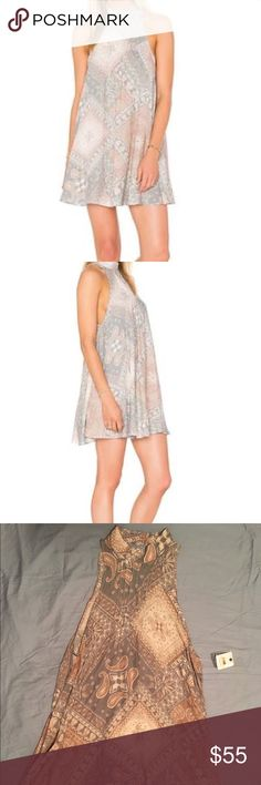 Free People Beaux Slip Mini Dress Gorgeous free people mini slip with a haunted neck that buttons in the back! Plus the triangle open back is on point! Free People Dresses Mini