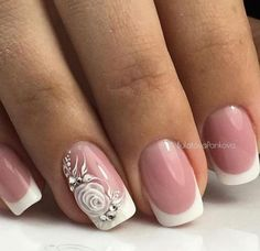 New Nail Art Best Nail Art Designs Tutorial (Beauty&Ideas Nail Art) Bridal Nails Designs, Manicure Nail Designs, Bridal Nail Art, Wedding Nails Design, Nail Manicure, Chic Nails, Stylish Nails, Trendy Nails, Nagellack Design