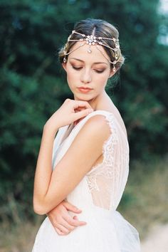 Bohemian Romantic Gold Headpiece by Bride La Boheme