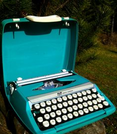 aqua/turquoise vintage smith corona typewriter by grovefair, $75.00