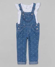 Look what I found on #zulily! White Ruffle Top & Blue Denim Overalls - Toddler & Girls #zulilyfinds
