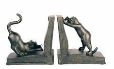 Ten Waterloo Playful Cats Bookends Pair, 7 inches High x 6 inches Wide Each Piec Thai Buddha Statue, Metal Baskets, Pansies, 6 Inches, Decorative Accessories, Bookends, Carving, Bookshelf Decorating, Feathers