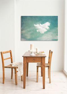 Drucke auf Leinwand - Leinwand Kunst Druck - Kleine Wolke - 75x50cm - ein Designerstück von juste-pixx bei DaWanda