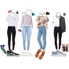 90s School Outfits by stellaluna899 on Polyvore featuring polyvore, fashion, style, 6397, MANGO, New Look, J Brand, Living Royal, Vans and A.P.C.