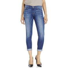 FLYING MONKEY Medium Wash Skinny Cropped Jeans ($50) ❤ liked on Polyvore