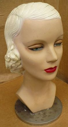 Vintage Mannequin Female Head with base