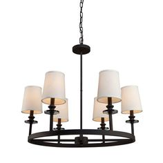 Sydney Black Six-Light 28.75-Inch Wide Chandelier