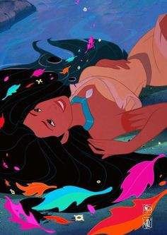 Disney's Pocahontas laying on her back