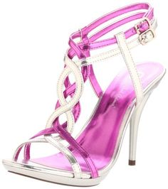 the braid on this strappy metallic heel is so cute!!!!  love the pink and silver combo too!