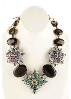 IRADJ MOINI Aged Gold Tone Amethyst Smoky Crystal Flower Statement Necklace #IRADJMOINI #Statement
