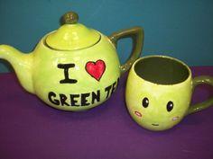 I heart green tea teapot an teacup