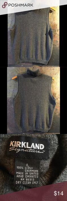"Sleeveless turtleneck cashmere, L, gray Kirkland,  6"" turtleneck, 20"" across bust, 16"" bottom unstretched. 21"" long, L. 4.5"" neck to arm.   Great piece. Kirkland Sweaters Cowl & Turtlenecks"