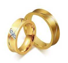 Free Engraving 6mm Stainless Steel Gold Color Couple Promise Rings Crystal Setting Rings #Affiliate