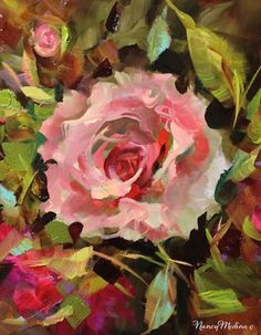 Artists Of Texas Contemporary Paintings and Art - Angels Among Us Pink Rose Solo by Floral Artist Nancy Medina