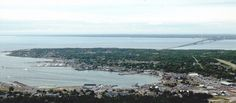view of st. ignace and mackinac bridge