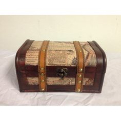 Antique Style Old World Map Decorative Wooden Suitcase(HF003-B)