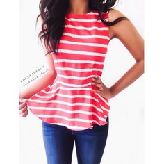 """Red & White Striped Peplum Top W/Bow in the back This peplum top is bold & sexy with a cool vintage vibe. It's so cute for Spring & summer, looks awesome dressed up or down{actual color of item may vary slightly from pics}  *shoulders:11.5"""" *chest:17"""" *waist:13.5"""" *length:23"""" *material/care:100% polyester hand wash  *fit:true to size/style might work for XS too  *condition:good/new   20% off bundles of 3/more items No Trades  NO HOLDS No transactions outside Poshmark  No lowball offers Tops…"""