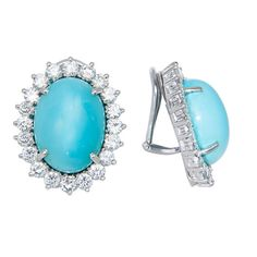 Gold Diamond & Turquoise Ear Clips ...