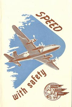 ANA - Australian National Airways - Speed with Safety brochure - 1948 Retro Advertising, Vintage Advertisements, Vintage Ads, Vintage Airline, Vintage Branding, Posters Australia, Australian Vintage, Travel Brochure, Retro Art