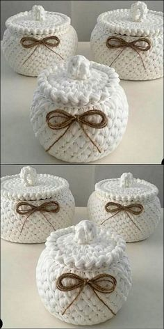 Stylish crochet storage jars crochet jars storage stylish quick and easy crochet hair clips a free tutorial Crochet Bowl, Crochet Basket Pattern, Crochet Patterns, Sewing Patterns, Diy Crafts Crochet, Crochet Gifts, Crochet Projects, Crochet Christmas Wreath, Crochet Storage
