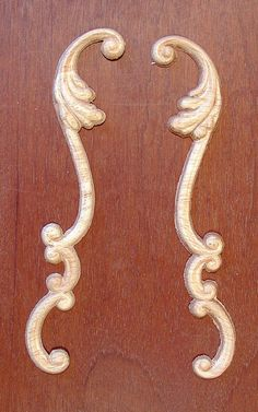 "SET WOOD EMBOSSED APPLIQUE 6/"" X 3 1//4/"" EACH PIECE HQ364"