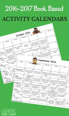 Over 50 themes, 200 books, and 200 activities to do with the kids this school year. Perfect homework calendars or activity calendars for families.