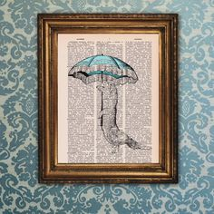 Dictionary Print: Vintage Weasel with Umbrella by PrintsofRogues