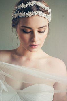 beautiful bridal make up & headpiece by Jannie Baltzer via @burnettsboards