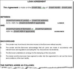 loan agreement sample letter