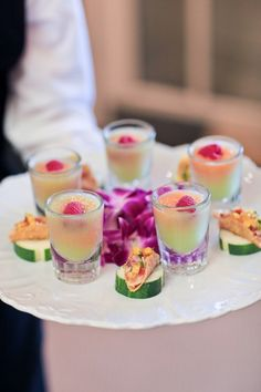 Fruit Gazpacho and Mini Taco Hors D'oeuvres | Raiza Vega Photography | TheKnot.com