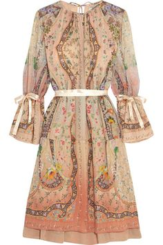 Bohemian craft and Eastern European antique clothing inspires Etro's Spring '16 collection. One of our favorite looks from the runway, this diaphanous silk-georgette dress is decorated with an intricate potpourri print. It's finished with balletic satin ribbons that wrap beautifully around your waist and cuffs.