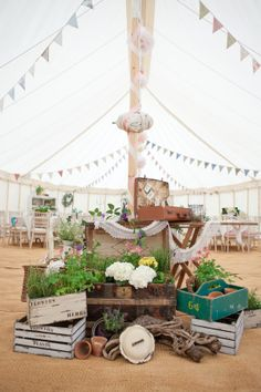 Vintage wedding decorations in our canvas and pole marquee