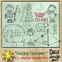 """Happy Camper! CU doodles  Camping themed doodles made digital as vector images for designer use. These are color free """"digital stamps"""". Please follow TOU. CU-OK! -No Credit required-"""