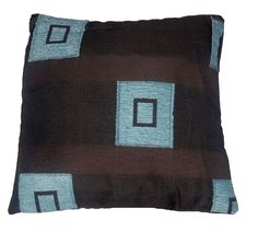 Quality Chocolate & Duck Egg Square Pattern Woven Tapestry Fabric Cushion Cover