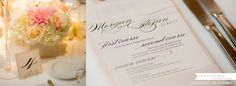 traditional and classic table number and menu at wedding reception