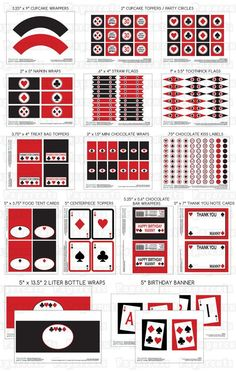 Printable DIY Red and Black Casino Night by PapercutsPartyShop, $30.00....might be worth the investment:-):