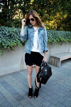 peeptoe booties + short black skirt + white tee + denim jacket