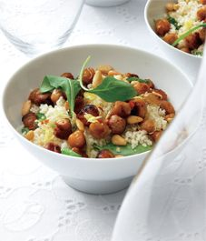 Couscous with Roasted Spiced Chickpeas & Pine Nuts-Vegetarian