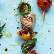 Pork, Yellow Pepper and Jalapeno Kebabs  from WomansDay.com #protein #vegetables #myplate