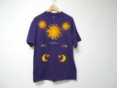 Myrtle Beach .  puffy celestial print . purple souvenir tee shirt . large . made in USA by june22 on Etsy