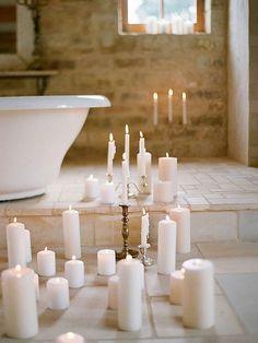 Romantic candlelight bathroom