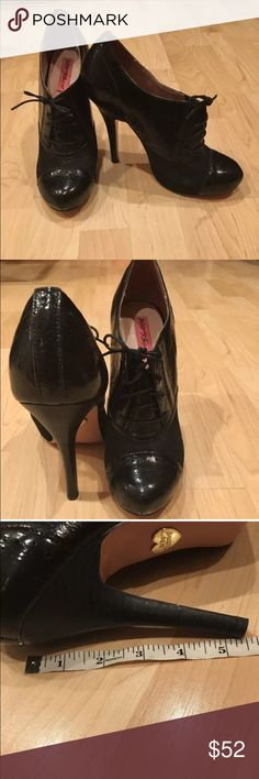 Betsey Johnson Derby heels 8.5 Cute 5 1/5 inch heels with sort of a hard mesh see through material on the sides Betsey Johnson Shoes Ankle Boots & Booties