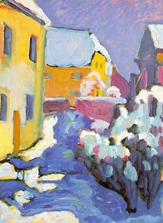 The Kandinsky's painting Winter Landscape is one of the works in which the individualities of the artist, being the founder of abstract art, are shown in the full extent. Henri Matisse, Kandinsky Art, Wassily Kandinsky Paintings, Pablo Picasso, Art Plastique, Art And Architecture, Painting & Drawing, Painting Lessons, Modern Art