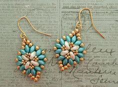 Linda's Crafty Inspirations: Cute & Easy Earrings - Aqua & Gold