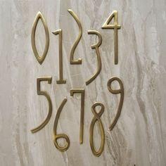 Art Deco Matte Brass House Door Numbers by PushkaHome on Etsy Door Number Sign, Door Numbers, Art Deco Font, Art Deco Design, Police Deco, Exterior Signage, Apartment Door, Modern Art Deco, House Doors